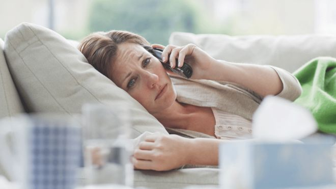 sick woman calling